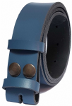 35mm Blue Snap Fit Leather Belt